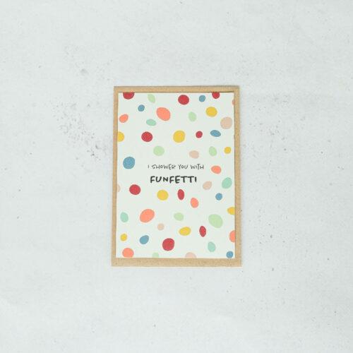 voorzijde wenskaart op gerecycleerd papier verjaardag funfetti