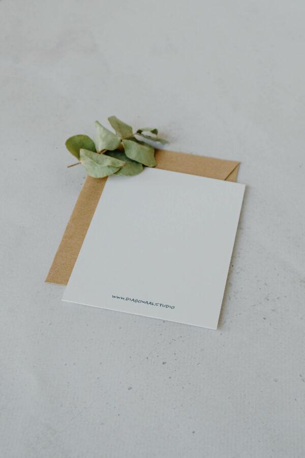 achterzijde wenskaart op papier uit katoenvezels