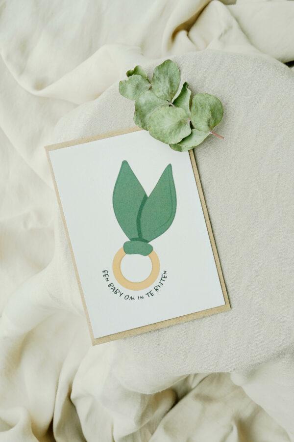 geboortekaart met bijtring op gerecycleerd papier