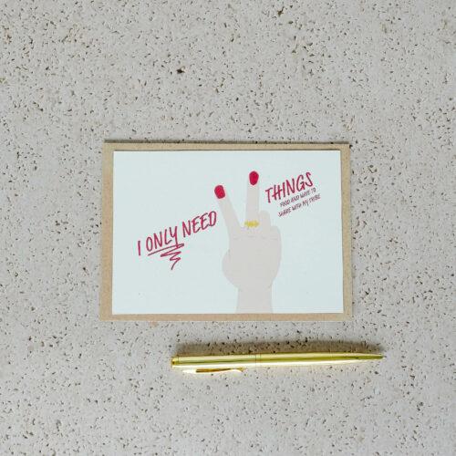 wenskaart op gerecycleerd papier met opschrift