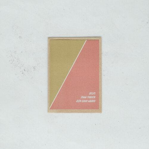 troostkaart op gerecycleerd papier met opschrift