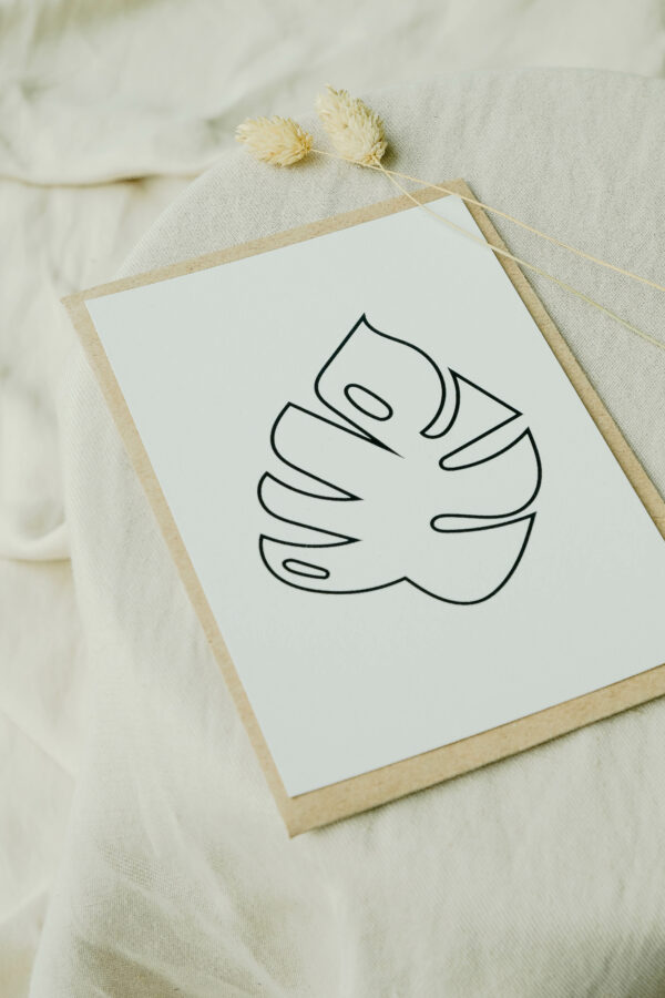 wenskaart monstera op gerecycleerd papier