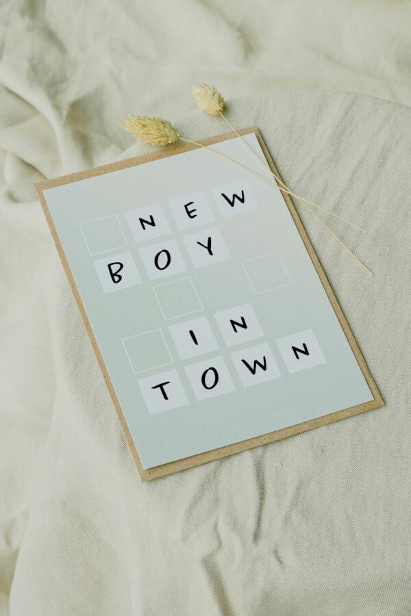 geboortekaart jongen op gerecycleerd papier