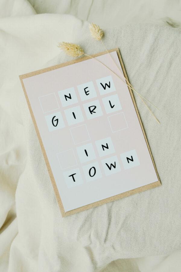 geboortekaart meisje op gerecycleerd papier