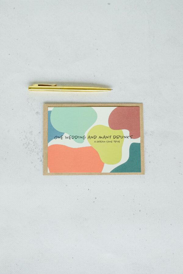 trouwkaart op gerecycleerd papier met opschrift