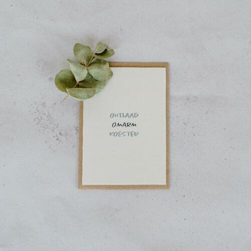 troostkaart op papier uit katoenvezels