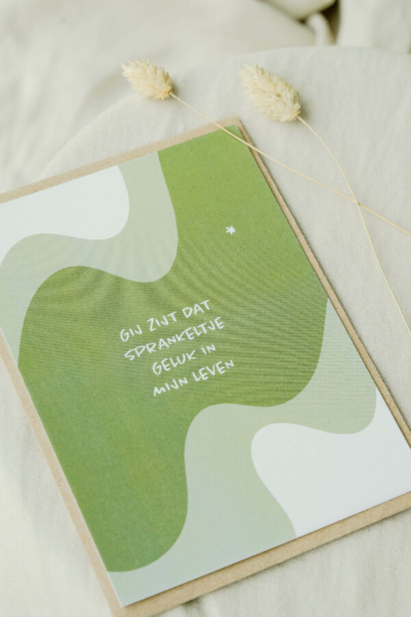 wenskaart sprankeltje geluk op gereycleerd papier