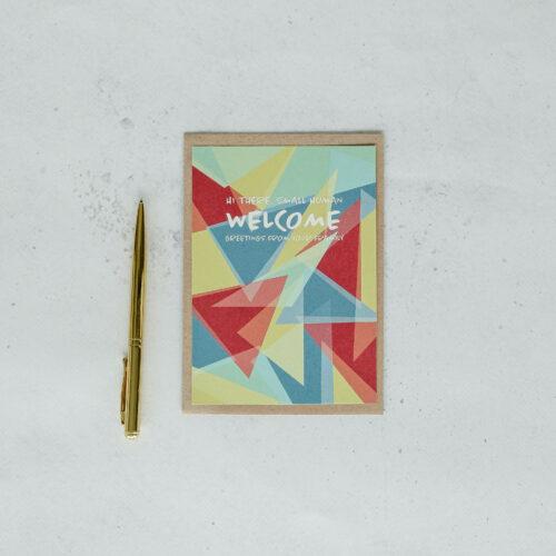 voorzijde geboortekaart op gerecycleerd papier met opschrift